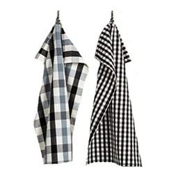 Gingham Kitchen Towel Set of 2 - Black/White - Hearth And Ha