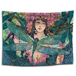 YQ Park Girl Dragonfly Tapestry Wall Art Mandala Decoration,