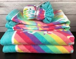 Girls BEBE Unicorn Bath Towel Set Hand Towels Washcloths Rai