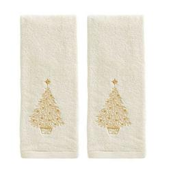 Glimmer Christmas Gold Tree Embroidered Hand Towels Set of 2