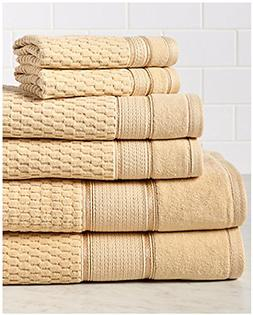 6 Piece Gold Dobby Border Towel Set With 54 X 28 Inches Bath