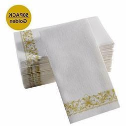 Gold Napkins & Guest Linen Paper Hand Towels for Bathroom De