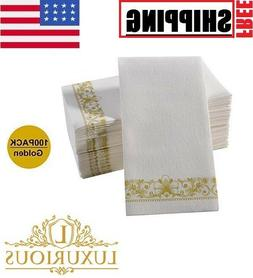 Gold Napkins & Linen Paper Hand Towels for Weddings, Parties