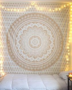 "Golden Ombre Tapestry "" Gold Tapestry Ombre Bedding Mandala"