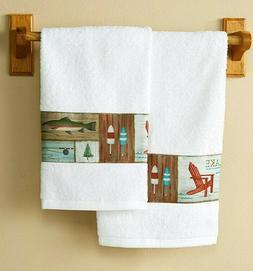 Gone Fishing Bathroom Hand Towel Set : Fish Themed Fishing B