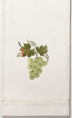 Henry Handwork Grapes Green Hand Towel, Set of 2