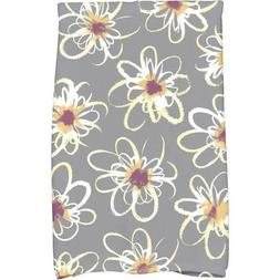 1 Piece Gray Floral 16 X 25 Inches Hand Towel, Light Grey Wh