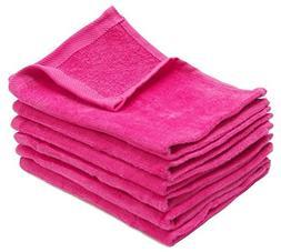 Wholesale Bulk  Hot Pink Color Terry Velour Hand Towels,Hemm