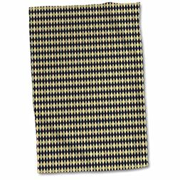 3dRose Small Green, Beige, and Black Argyle Pattern Towel, 1