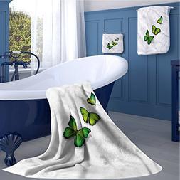Green Customized sports towel set Three Vibrant Butterflies