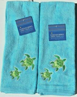 Green Sea Turtle on Blue Hand Towels Embroidered Bathroom Su