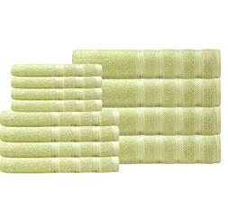 green stripe solid towel set
