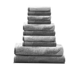 10 Piece Grey Abstract Towel Set With 30 X 54 Inches Bath To