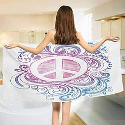 Groovy,Bath Towel,Classic Hand Drawn Style Peace Sign and Sw