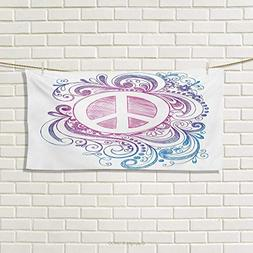 Groovy,Hand Towel,Classic Hand Drawn Style Peace Sign and Sw