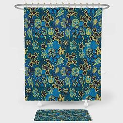 iPrint Grunge Shower Curtain And Floor Mat Combination Set C