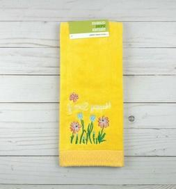 Guest Hand Towel Terrycloth Bath Happy Spring Flowers Yellow