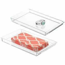 mDesign Guest Paper Hand Towel Storage Tray for Bathroom Van