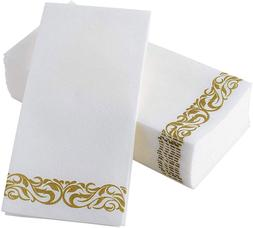 Guest Towels Linen-Feel Floral Paper Hand Disposable Napkins