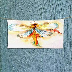 Nalahome Gym Shower Towel Hand Drawn Dragonfly Figure with H