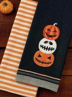 Set of 2 Halloween Hand Towels - Jack O Lantern Stripe - DII