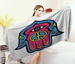 Hamsa,Baby Bath Towel,Hippie Boho Hamsa Hand Fatima Peace Si