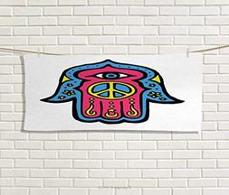 Hamsa,Hair Towel,Hippie Boho Hamsa Hand Fatima Peace Sign in