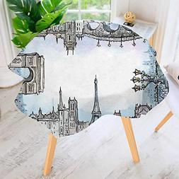 aolankaili Hand Screen Printed Tablecloth- Eiffel Towel Famo