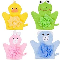 Hand Puppet Bath Wash Mitt Towel with Animal Designs for Chi