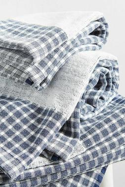 Anthropologie Hand Towel SAVON Bath Navy Gingham Cotton Eco-