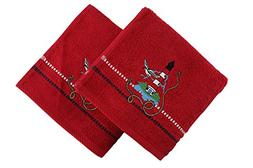Culture Hand Towel Set, Seagull Flies Near Lighthouse, Red,