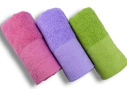 "Cleanbear Hand Towels, 3-pack, 3colors, Size 13""x29"""