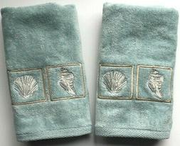 Set of 2 Hand Towels Blue Shells Embroidered Guest Bathroom
