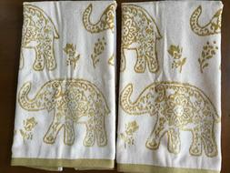 Deborah Connolly Hand Towels Creme/Gold Elephants NEW