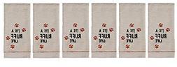 Saturday Knight Set of 6 Hand Towels Dog Paw Prints ITS A RU