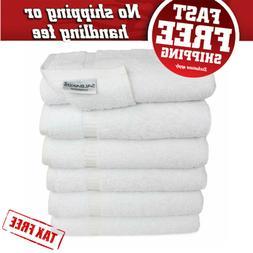 SALBAKOS Hand Towels for Bathroom - White Cotton - 6 Bulk Pa