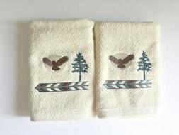 New 2 Realistic OWL Embroidered Hand Towels,Northwoods lodge cabin decor
