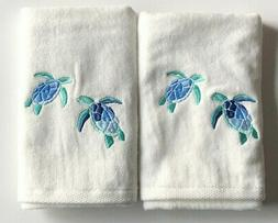 Hand Towels Sea Turtle Embroidered Guest Bathroom Summer Bea