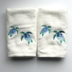 Hand Towels Sea Turtles Embroidered Guest Bathroom Summer Be