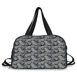 iPrint Travel handbag,Skulls Decorations,Knitting Texture Wi