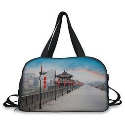 iPrint Travel handbag,Ancient China Decorations,Old Tower on