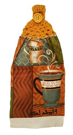 Handcrafted Gold Crochet Topped Coffee Theme Kitchen Towel
