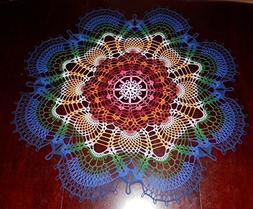 "Amazing Handmade Crochet Tablecloth Doily, 37.5""""Rainbow Pea"