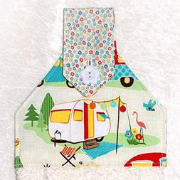 Hanging Hand Towel For Kitchen or Bath - Retro Camping Print