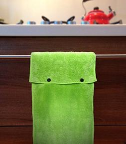 Hanging Hand Towels with Snap Fastener - Set of 3 Lime Green