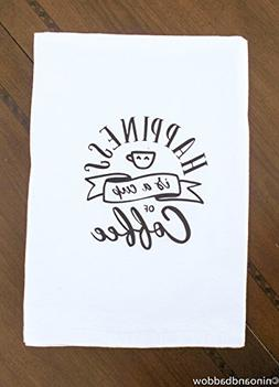 Happiness is a Cup of Coffee Flour Sack Dish Towels by Nino