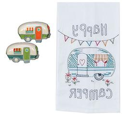 DHE Happy Camper 3 Piece Kitchen Bundle, Towel with Salt and