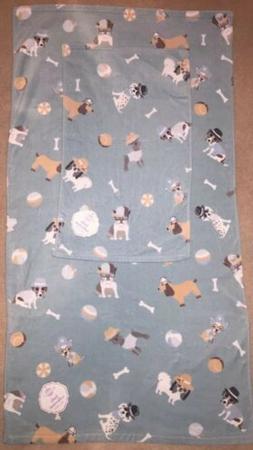 Happy Dog Bath Towel Hand  Blue White 2 Pc 100% COTTON Dogs