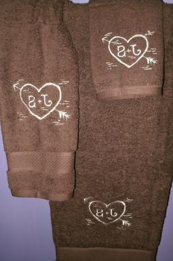 Heart Carved Wood Love Personalized 3 Piece Bath Towel Set Y