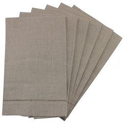 6 Pack - CleverDelights Natural Linen Hemstitched Hand Towel